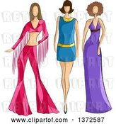 Vector Clip Art of Retro Faceless White Female Models Wearing 70s Styled Apparel by BNP Design Studio
