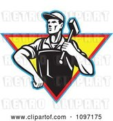 Vector Clip Art of Retro Factory Blacksmith Worker Carrying a Hammer over a Traingle by Patrimonio