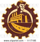 Vector Clip Art of Retro Factory Worker Mechanic in a Gear with a Building and Road by Patrimonio