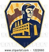 Vector Clip Art of Retro Factory Worker Mechanic in a Gear with a Building and Road over a Sunny Shield by Patrimonio