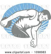 Vector Clip Art of Retro Faded Male Athlete Throwing a Discus over Blue Rays by Patrimonio