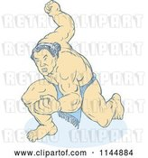 Vector Clip Art of Retro Faded Sumo Wrestler Holding up a Fist by Patrimonio