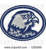 Vector Clip Art of Retro Falcon Head in a Blue and White Oval by Patrimonio