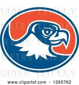 Vector Clip Art of Retro Falcon Head in a Blue White and Orange Oval by Patrimonio
