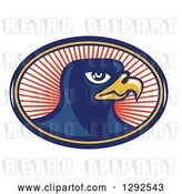 Vector Clip Art of Retro Falcon Head in a Blue Yellow and Red Oval of Rays by Patrimonio