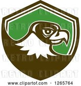 Vector Clip Art of Retro Falcon Head in a Brown White and Green Shield by Patrimonio