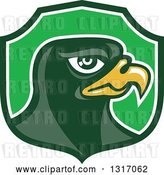 Vector Clip Art of Retro Falcon Head in a Green Shield by Patrimonio