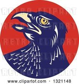 Vector Clip Art of Retro Falcon Head in a Red Circle by Patrimonio