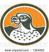 Vector Clip Art of Retro Falcon Head in an Orange Green and White Oval by Patrimonio