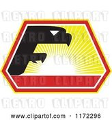 Vector Clip Art of Retro Falcon in the Shape of an F Against a Sunset by Patrimonio