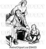 Vector Clip Art of Retro Family and Boy Reading by Prawny Vintage