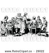 Vector Clip Art of Retro Family at a Table by Prawny Vintage