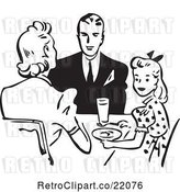 Vector Clip Art of Retro Family Eating at a Table by BestVector