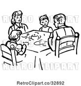 Vector Clip Art of Retro Family Eating Supper at a Table in by Picsburg