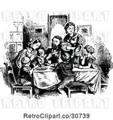 Vector Clip Art of Retro Family Eating Supper by Prawny Vintage