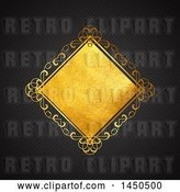 Vector Clip Art of Retro Fancy Golden Diamond Frame over a Black Background by KJ Pargeter