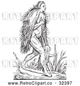 Vector Clip Art of Retro Fantasy Hairy Woman and Child Black and White by Picsburg