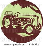Vector Clip Art of Retro Farm Tractor in a Brown and Green Circle by Patrimonio
