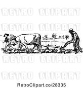 Vector Clip Art of Retro Farmer and Cow Ploughing by Prawny Vintage