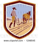 Vector Clip Art of Retro Farmer and Horse Plowing a Field in a Shield by Patrimonio