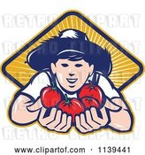 Vector Clip Art of Retro Farmer Boy Holding out Tomatoes over a Diamond of Rays by Patrimonio
