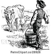 Vector Clip Art of Retro Farmer Carrying a Bucket Towards Cows by Prawny Vintage