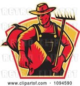 Vector Clip Art of Retro Farmer Carrying a Rake and Sack by Patrimonio