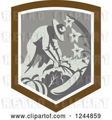 Vector Clip Art of Retro Farmer Harvesting in a Shield by Patrimonio
