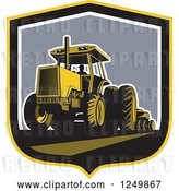 Vector Clip Art of Retro Farmer Operating a Plowing Tractor in a Shield by Patrimonio