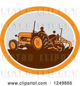 Vector Clip Art of Retro Farmer Operating a Plowing Tractor in an Orange and Gray Oval by Patrimonio