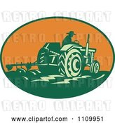 Vector Clip Art of Retro Farmer Operating a Tractor and Plowing a Field in an Orange Oval by Patrimonio