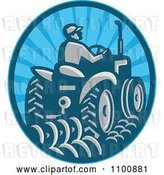Vector Clip Art of Retro Farmer Operating a Tractor in a Blue Circle by Patrimonio