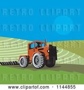 Vector Clip Art of Retro Farmer Operating a Tractor on a Field 1 by Patrimonio