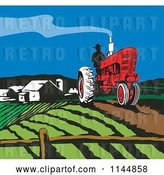 Vector Clip Art of Retro Farmer Operating a Tractor on a Field 2 by Patrimonio