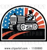Vector Clip Art of Retro Farmer Operating a Tractor with American Stars and Stripes by Patrimonio