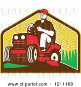 Vector Clip Art of Retro Farmer or Gardener Operating a Ride on Lawn Mower by Patrimonio