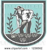 Vector Clip Art of Retro Farmer Tilling a Cabbage Garden in a Shield by Patrimonio