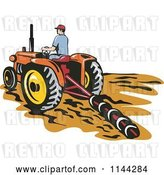 Vector Clip Art of Retro Farmer Tilling a Field with a Tractor by Patrimonio