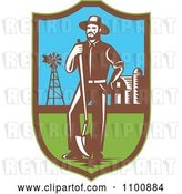 Vector Clip Art of Retro Farmer with a Shovel Windmill and Barn in a Shield by Patrimonio