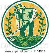 Vector Clip Art of Retro Farmer Working in a Cabbage Patch Crop over Orange Rays by Patrimonio