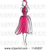 Vector Clip Art of Retro Fashion Model in a Pink Dress 2 by Vector Tradition SM