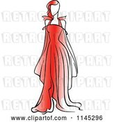 Vector Clip Art of Retro Fashion Model in a Red Dress 1 by Vector Tradition SM
