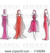 Vector Clip Art of Retro Fashion Models in Pink and Red Dresses by Vector Tradition SM