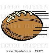Vector Clip Art of Retro Fast Brown Leather American Football Speeding Through the Air During a Game by Andy Nortnik
