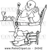 Vector Clip Art of Retro Fat Man Eating by Prawny Vintage