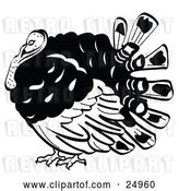 Vector Clip Art of Retro Fat Turkey Bird with His Head Tucked in His Neck by Andy Nortnik