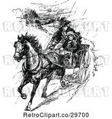 Vector Clip Art of Retro Father and Girl on a Horse Cart in the Rain by Prawny Vintage