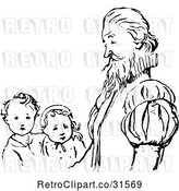 Vector Clip Art of Retro Father and His KChildren by Prawny Vintage