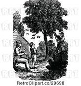 Vector Clip Art of Retro Father and Son Picking Fruit from a Tree by Prawny Vintage