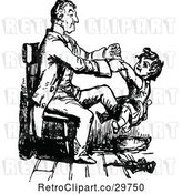 Vector Clip Art of Retro Father and Son Playing in a Chair by Prawny Vintage